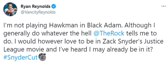Ryan Reynolds tweets how he'd love to appear in The Snyder Cut of Justice League