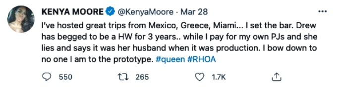 Kenya Moore calls out her castmate Drew Sidora