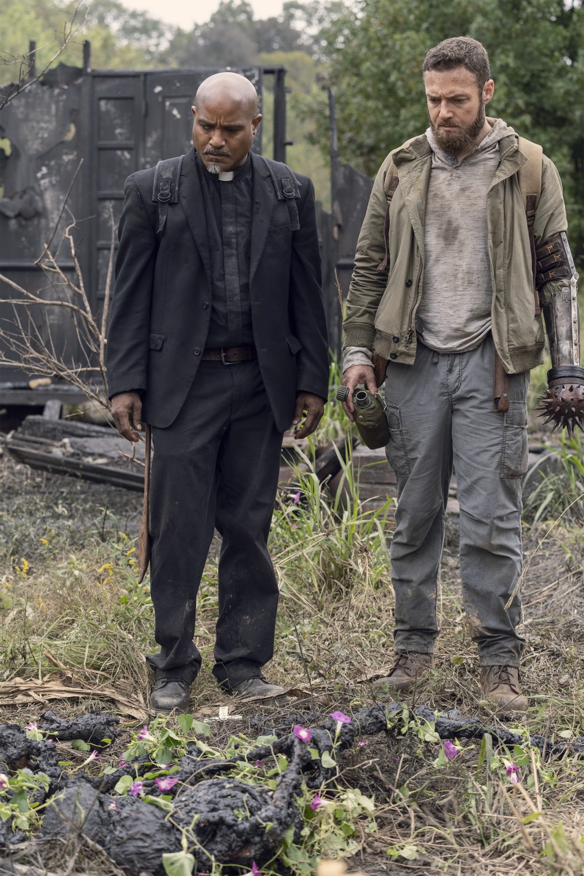 Ross Marquand as Father Gabriel and Ross Marquand as Aaron, as seen in Episode 19 of AMC's The Walking Dead Season 10C