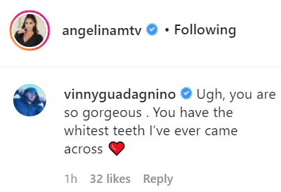 Vinny Guadagnino added a flirty comment to Angelina Pivarnick's Instagram comments.