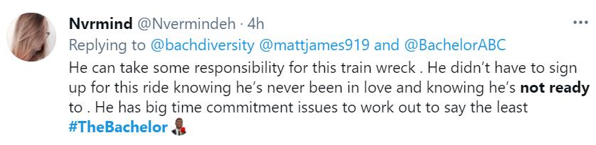 A Twitter user slammed Matt's inability to commit on The Bachelor.