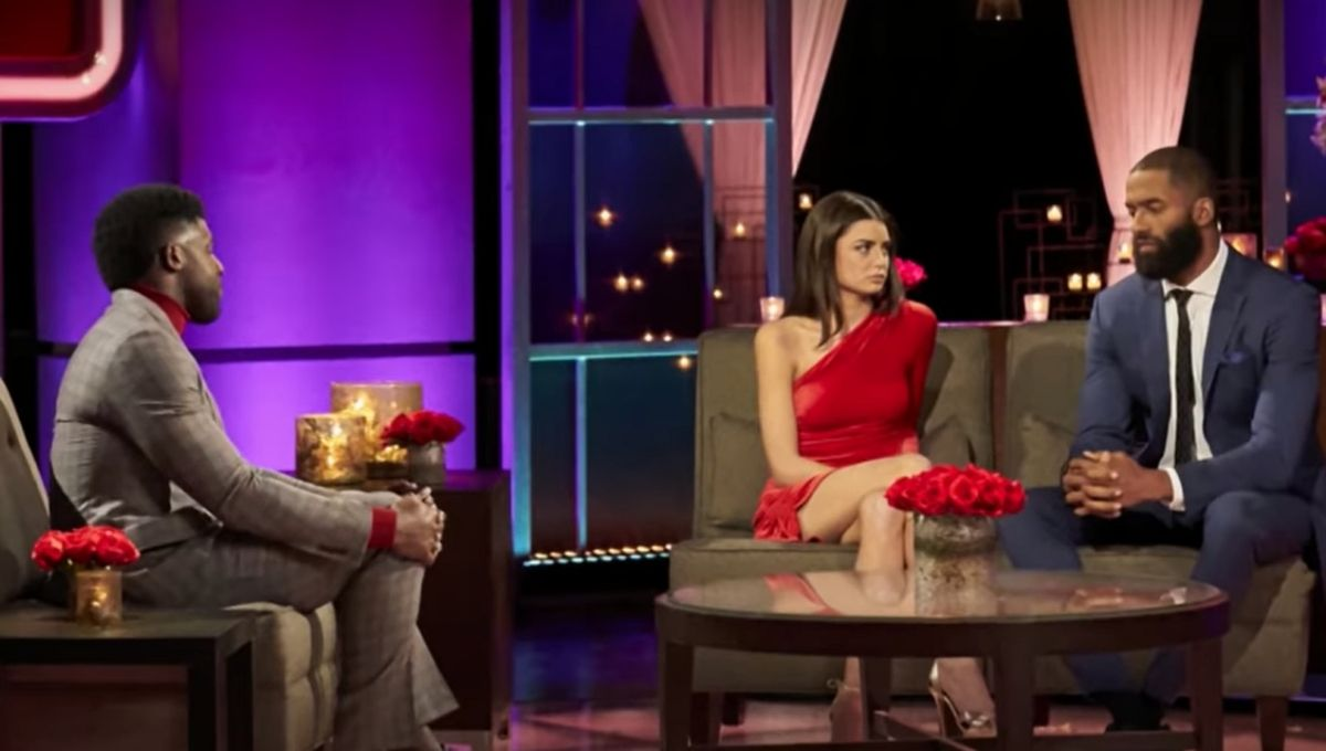 Rachel Kirkconnell sits with Matt James during the live after the final rose special