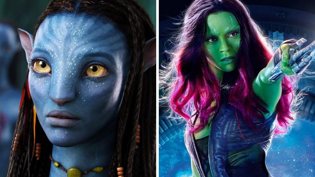Image of Zoe Saldana's characters in Avatar and Guardians of the Galaxy.