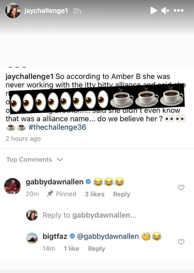 jaychallenge1 shares reactions to amber b comments
