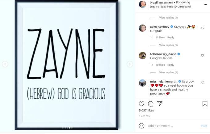Carmen announces that she's pregnant on Instagram.