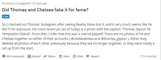Chelsea and Thomas conversation on Reddit