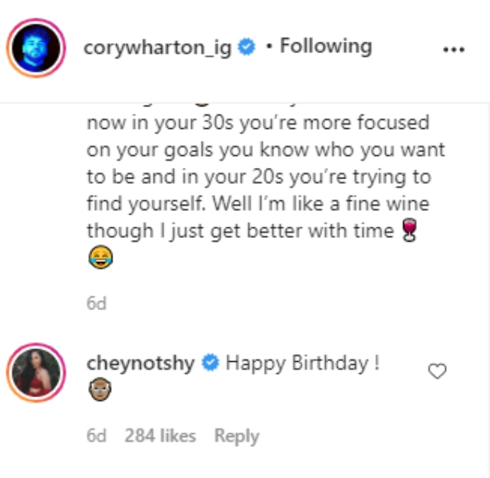 Cory Wharton and Cheyenne Floyd on Instagram
