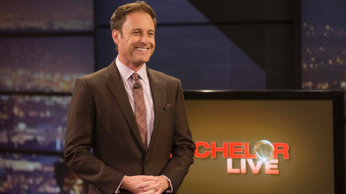 Chris Harrison poses on the set of The Bachelor.