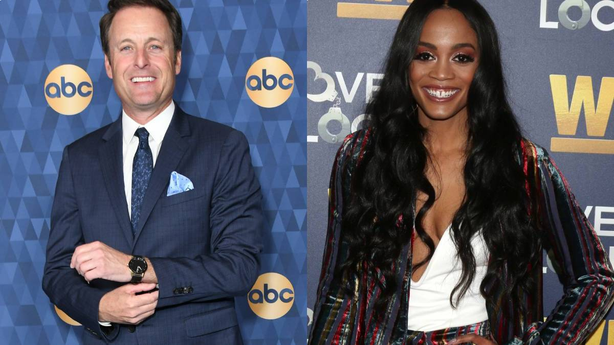 Chris Harrison and Rachel Lindsay pose on the red carpet.