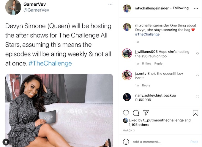 the challenge all stars aftermath host will be devyn simone per rumors
