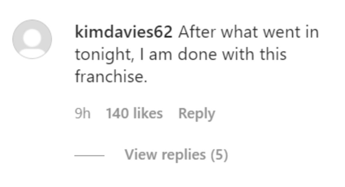 An Instagram comment regarding The Bachelorette.