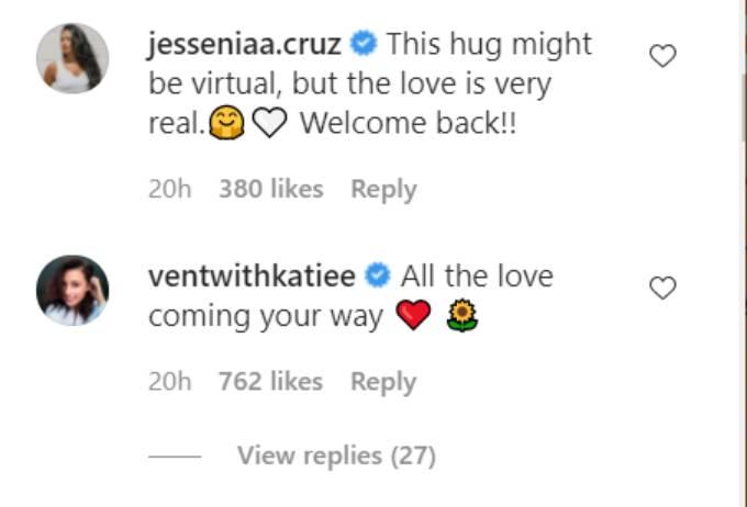 Katie and Jessenia comment on Rachel Lindsay's Instagram post.