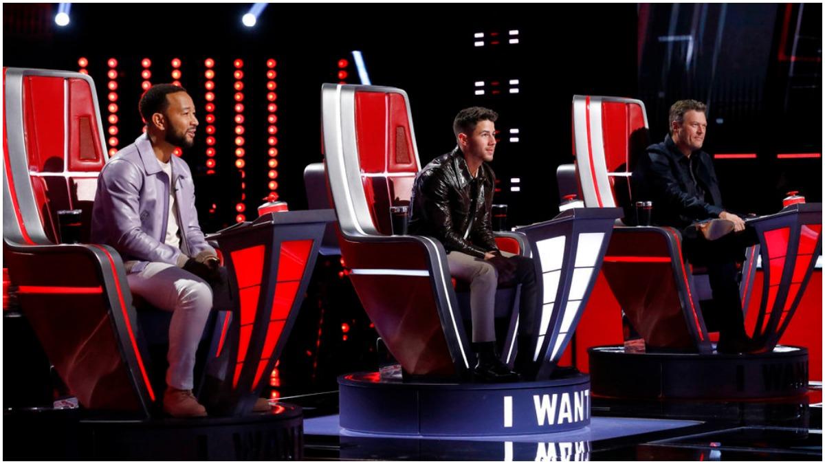 John Legend, Nick Jonas and Blake Shelton on the set of The Voice.