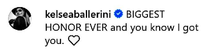 Kelsea Ballerini Instagram comment.