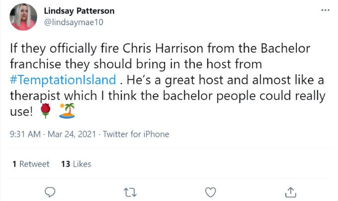 One fan tweets about Mark Walberg replacing Chris Harrison.