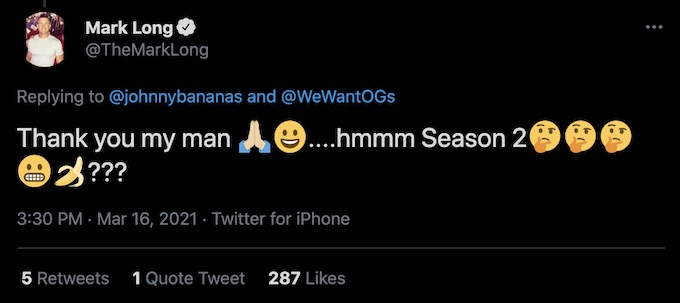 mark long replies to johnny bananas retweet of challenge all stars trailer