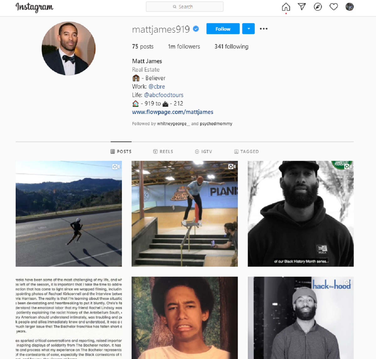 Matt James Instagram is now Bachelor free