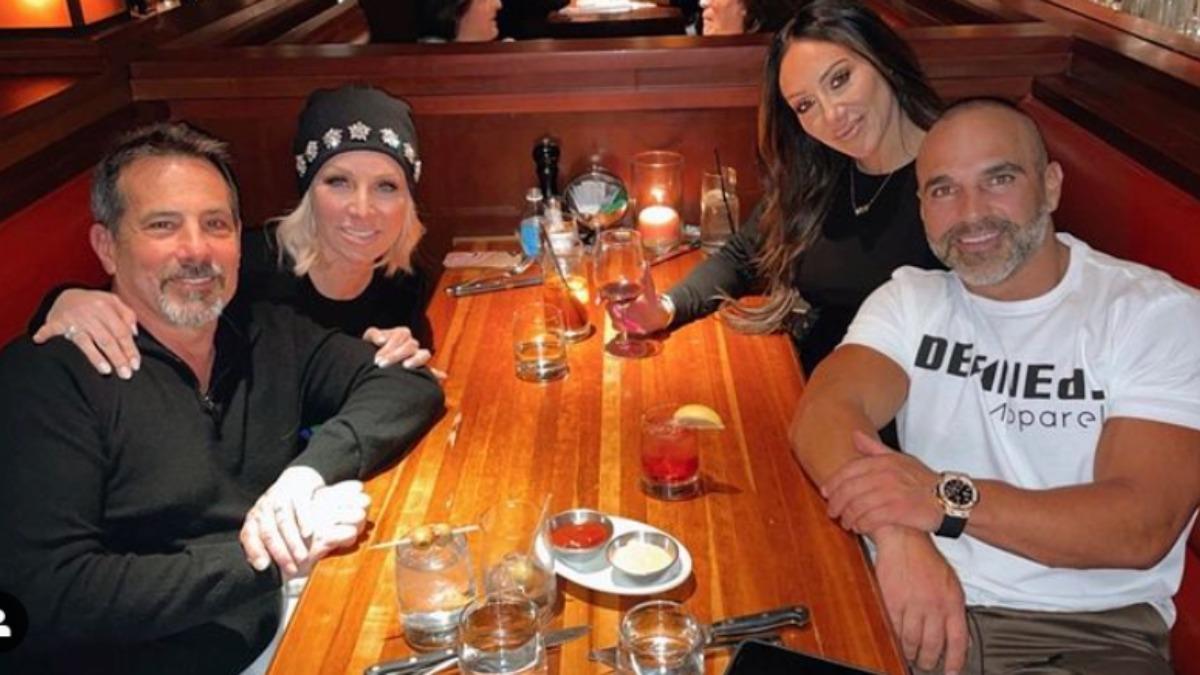 Meliussa and Joe Gorga sit with Margaret Jospehs and Joe Benigno at dinner.