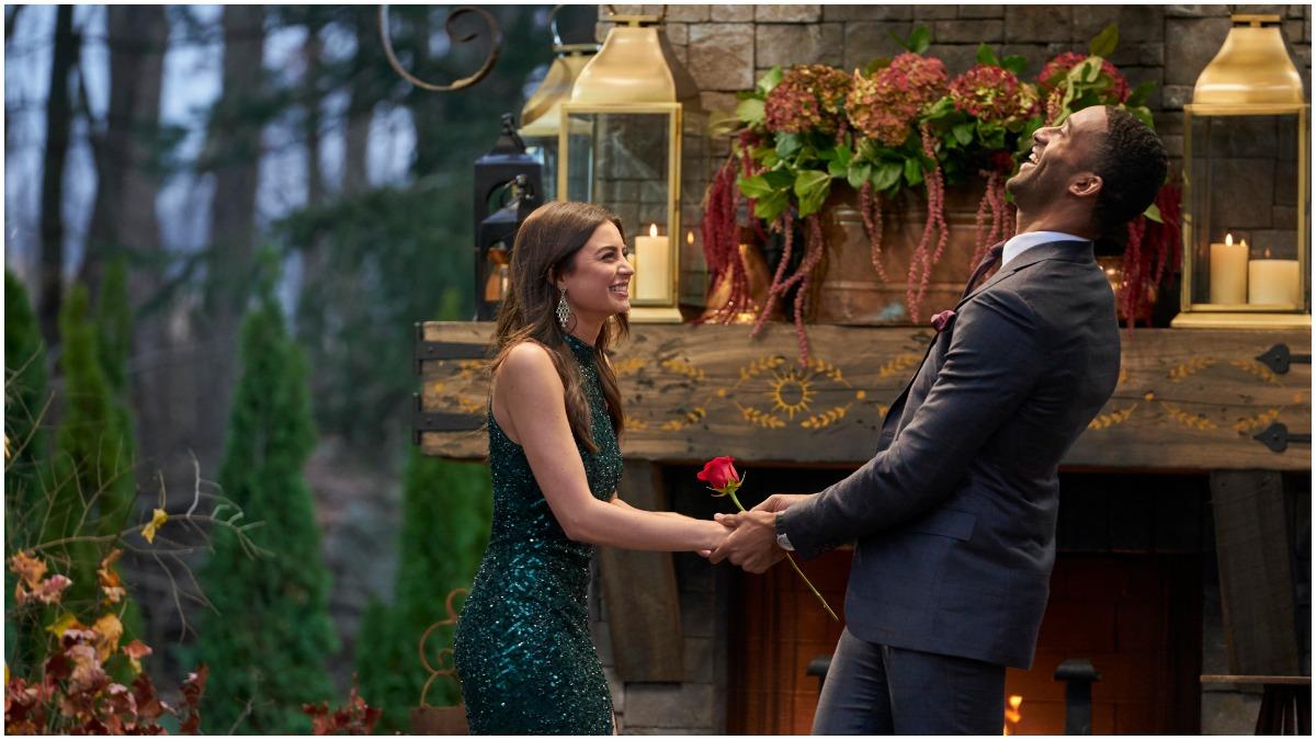 Rachael Kirkconnell and Matt James on the set of The Bachelor.