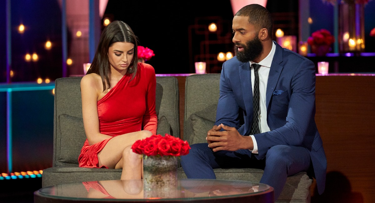 Rachael Kirkconnell and Matt James on the set of The Bachelor After the Final Rose.
