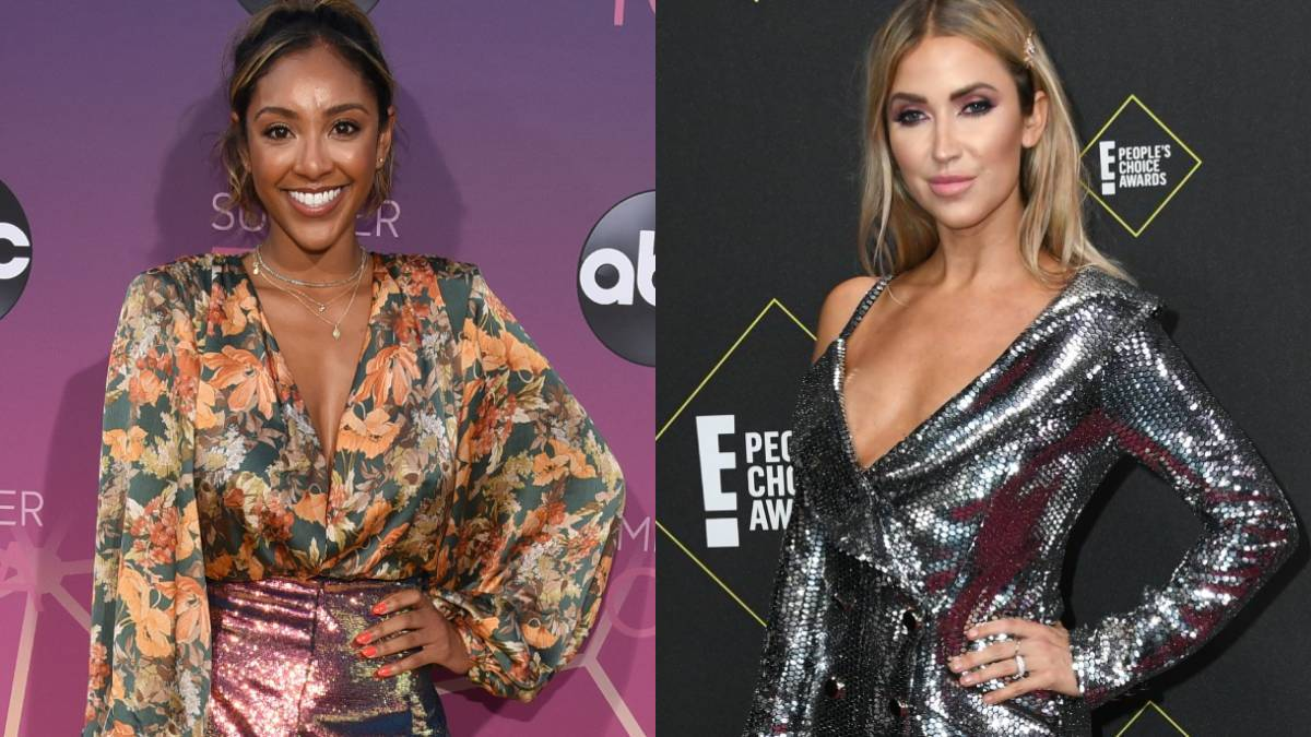 Tayshia Adams and Kaitlyn Bristowe pose on the red carpet
