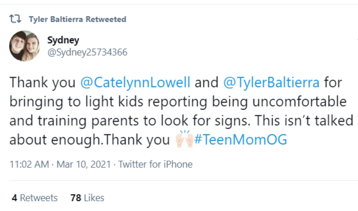 Tyler Baltierra of Teen Mom on Twitter