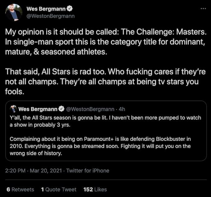 wes bergmann tweet about challenge all stars spinoff