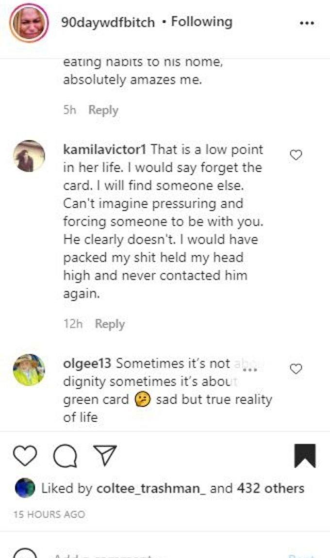 IG comments about 90 day Fiance Natalie