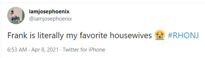 A fan calls Frank their 'favorite housewife'
