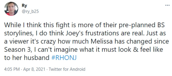 A fan thinks their may be some truth to Joe's frustration