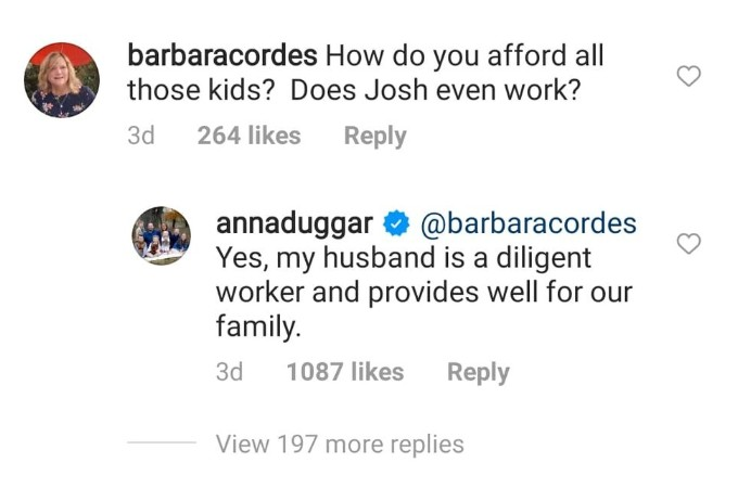 Anna Duggar responds to comment about Josh Duggar.