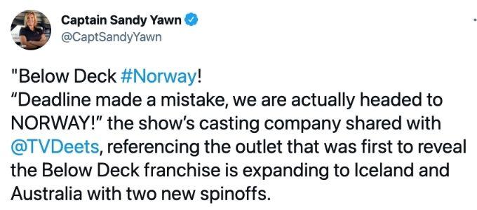 Captain Sandy Yawn Below Deck spin-off tweet