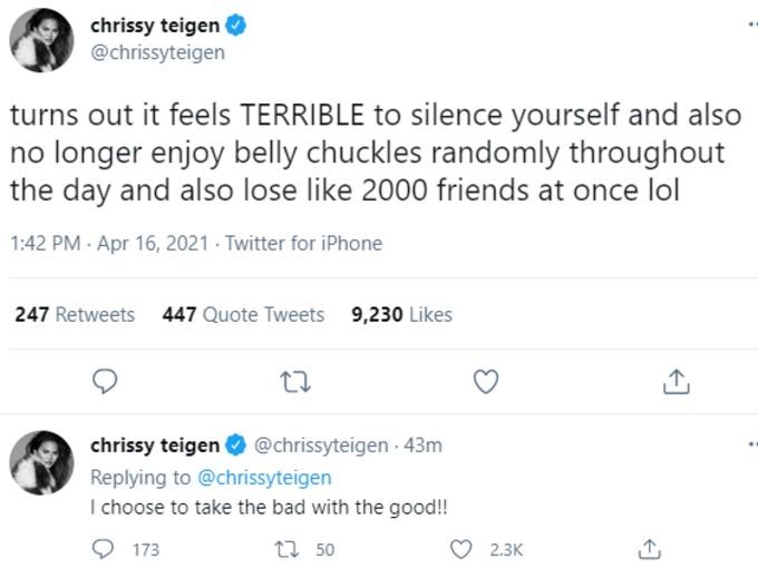 Chrissy Teigen announces return to Twiiter