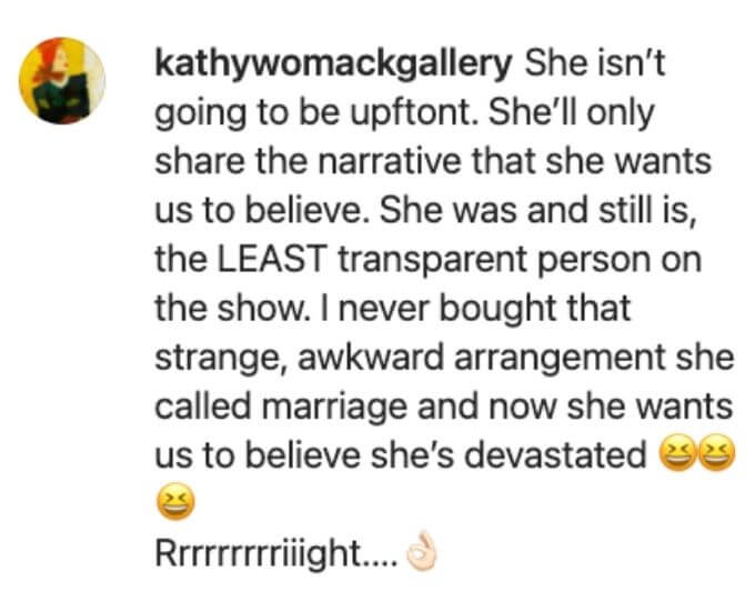 Erika blasted by fan in response to hard Season 11.