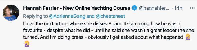 Hannah responds to Adrienne Gang tweet slamming Captain sandy Yawn.