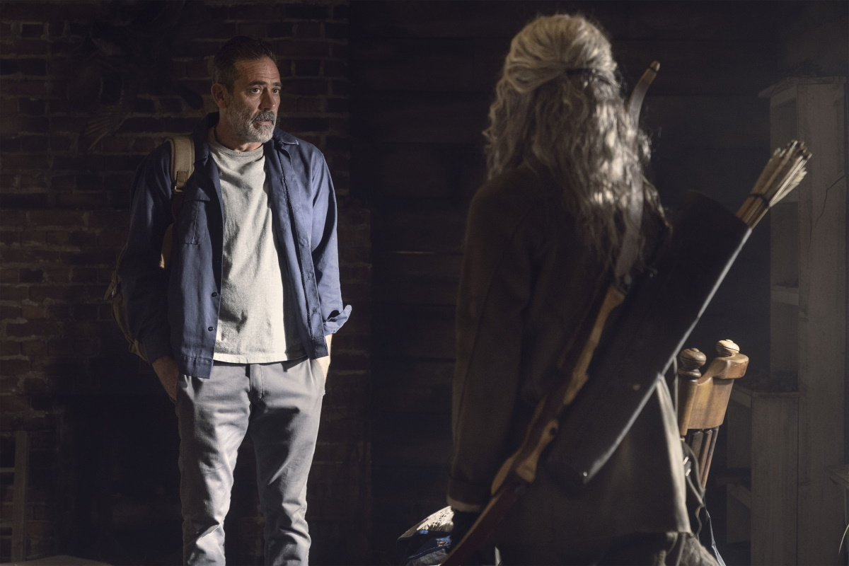 Jeffrey Dean Morgan as Negan and Melissa McBride as Carol, as seen in Episode 22 of AMC's The Walking Dead Season 10C