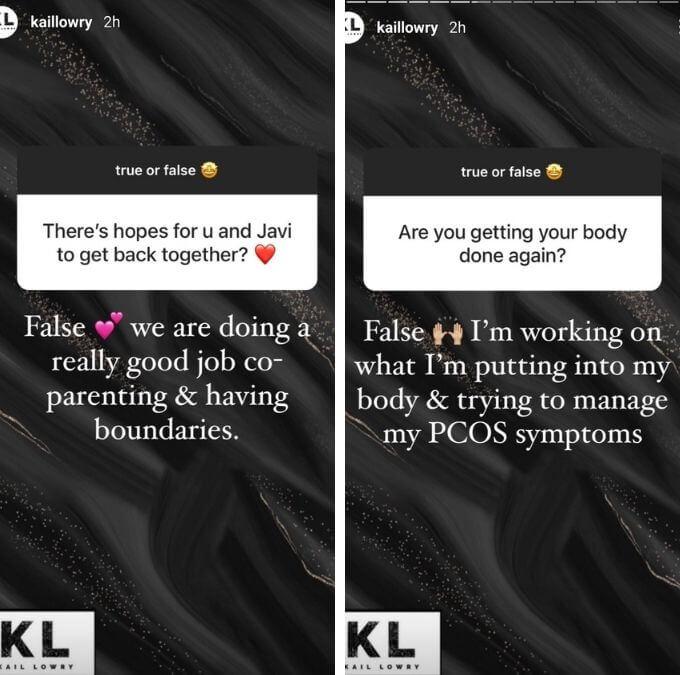 Kailyn Lowry of Teen Mom 2 on Instagram stories