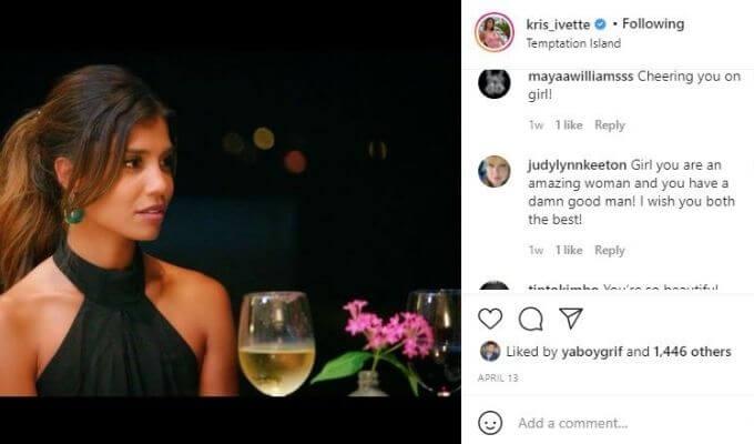 IG post from Temptation Island's Kristen