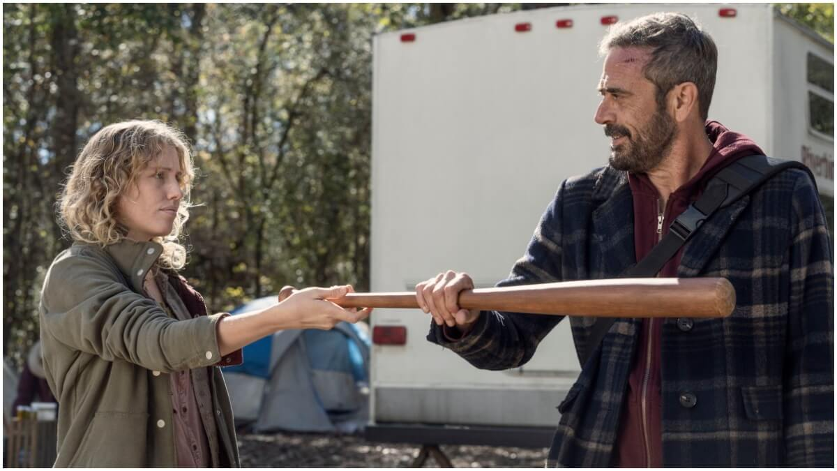 Lindsley Register as Laura and Jeffrey Dean Morgan as Negan, as seen in Episode 22 of AMC's The Walking Dead Season 10C