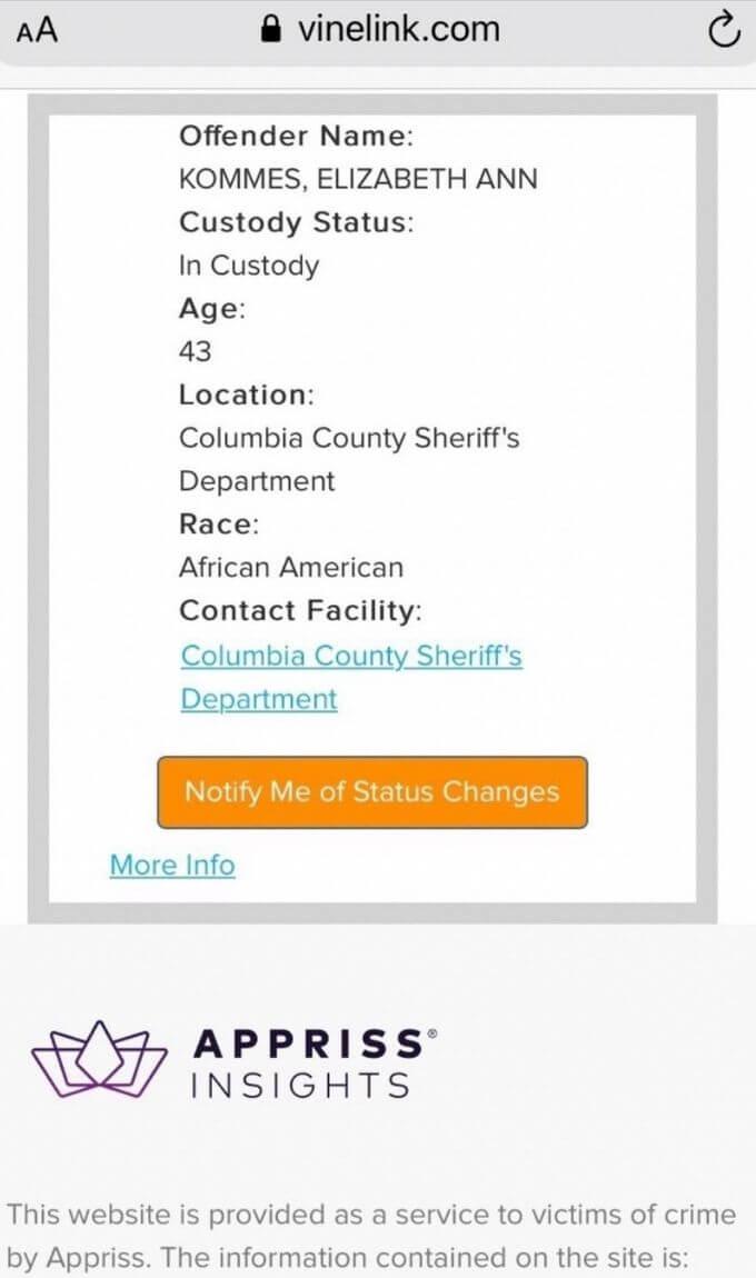 Lizzie's arrest record
