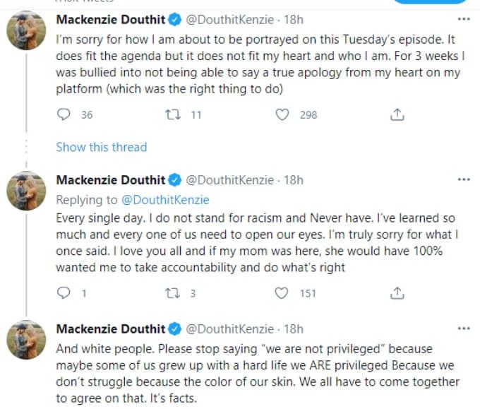 Mackenzie Mckee apology