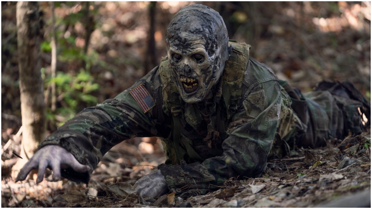 A walker wearing military gear, as seen in Episode 21 of AMC's The Walking Dead Season 10C