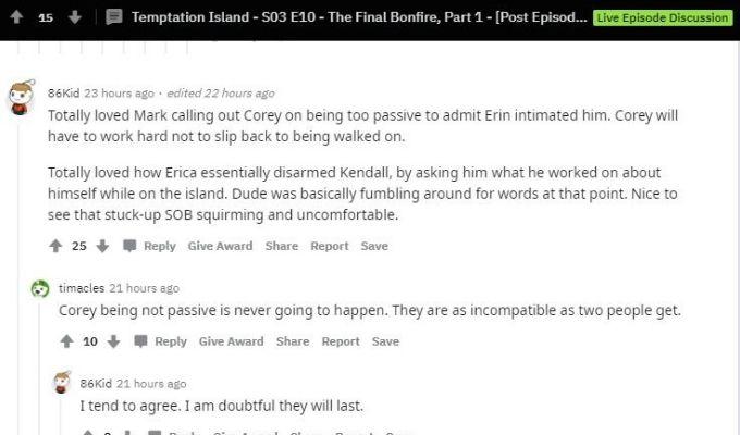 Comments on Reddit