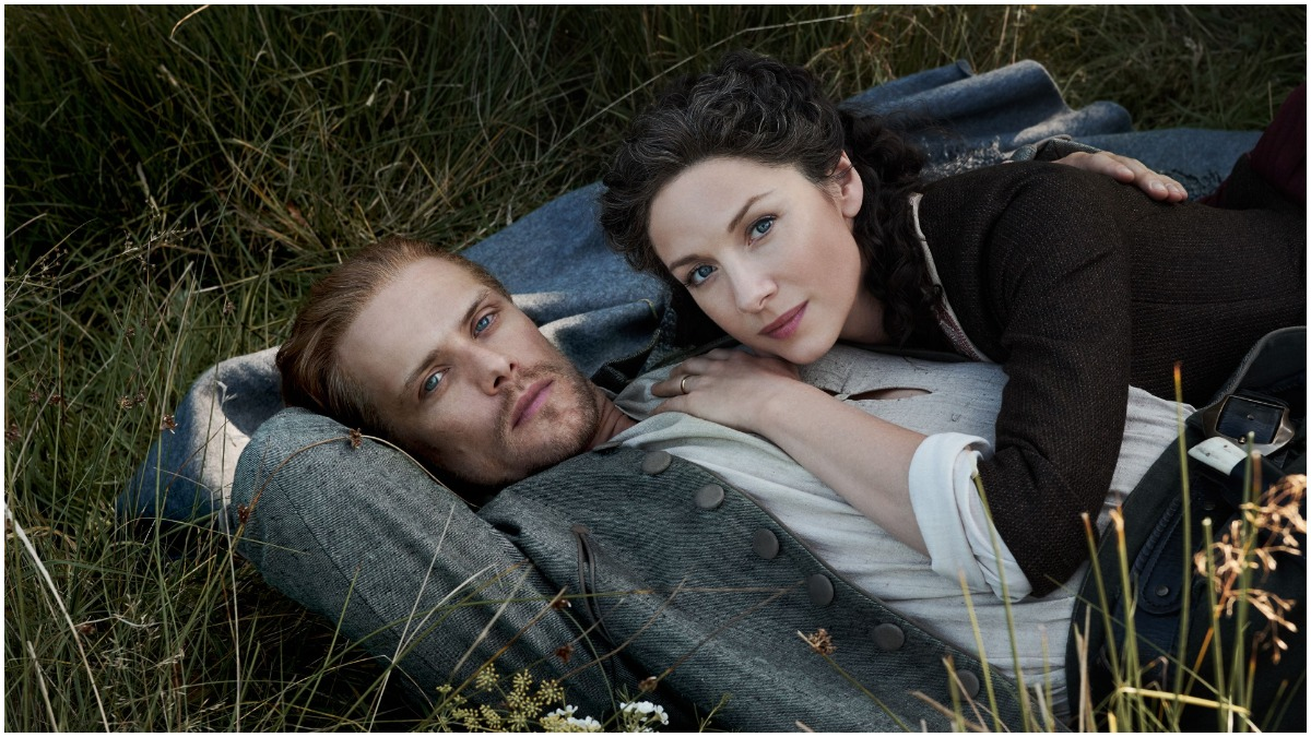 Sam Heughan as Jamie and Caitriona Balfe as Claire, as seen in Starz's TV adaptation of Outlander