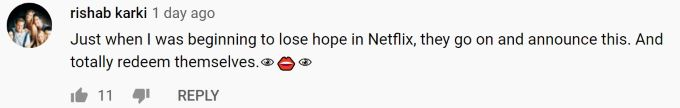 Comment about behind-the-scenes video for The Witcher Season 2.