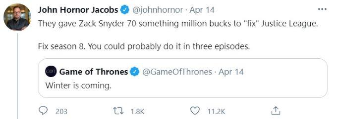 Screenshot of fan wanting a redo of Season 8 of GOT.