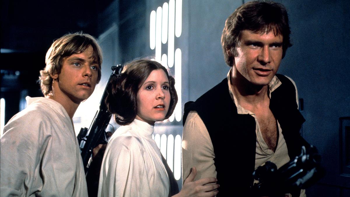 Luke, Leia, and Han in Star Wars