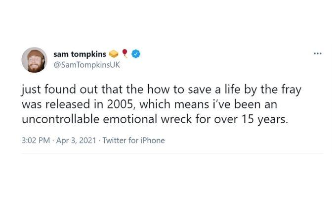 Screenshot of Sam Tompkins' tweet.