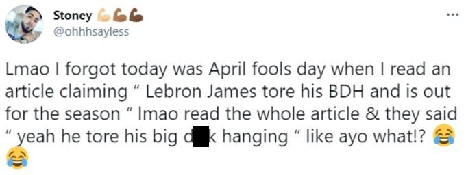 Tweet about the LeBron James BDH injury April Fool's Day prank