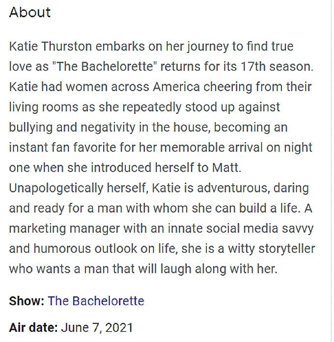 Katie Thurston first episode synopsis